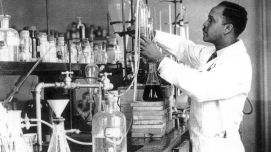 Percy Julian working in a DePauw University lab, ca. 1930. From the collection of the Historical Society of Oak Park and River Forest